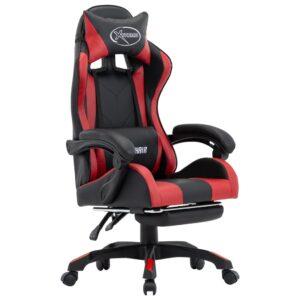 Cadeira de Gaming / Escritório c/ apoio pés couro artif. vermelho tinto/preto - PORTES GRÁTIS