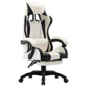 Cadeira de Gaming / Escritório c/ apoio pés couro artif. preto/branco - PORTES GRÁTIS