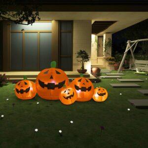 Halloween Família de abóboras insufláveis com LED 1,8 m - PORTES GRÁTIS