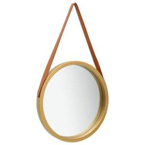 Espelho de parede com alça 40 cm dourado - PORTES GRÁTIS