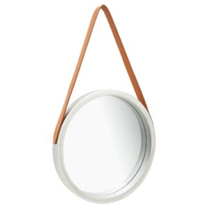 Espelho de parede com alça 40 cm prateado - PORTES GRÁTIS