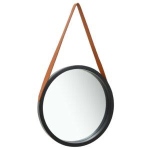 Espelho de parede com alça 50 cm preto - PORTES GRÁTIS