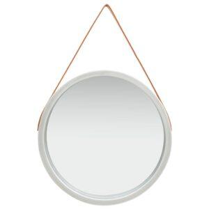 Espelho de parede com alça 60 cm prateado - PORTES GRÁTIS