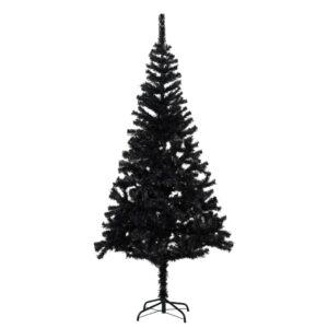 Árvore de Natal artificial com suporte 180 cm PVC preto - PORTES GRÁTIS