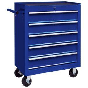 Trólei de oficina para ferramentas com 5 gavetas azul - PORTES GRÁTIS