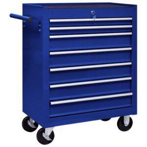 Trólei de oficina para ferramentas com 7 gavetas azul - PORTES GRÁTIS