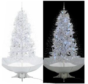 Árvore de Natal c/ neve base formato guarda-chuva 190 cm branco - PORTES GRÁTIS
