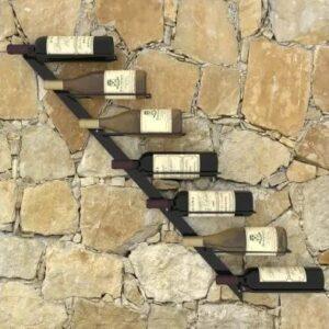 Garrafeira de parede para 7 garrafas metal preto - PORTES GRÁTIS