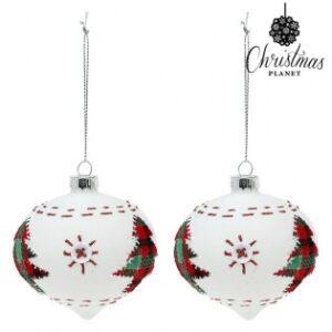 2 Bolas de Natal 2003 8 cm  Cristal Branco