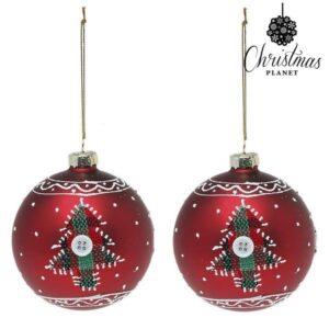 Bolas de Natal 1785 8 cm (2 uds) Cristal Vermelho