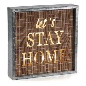 Caixa Decorativa Stay Home Madeira (5,5 x 25 x 25 cm)