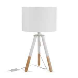 Lâmpada de Mesa Nadine Madeira (30 x 56 x 30 cm) Branco