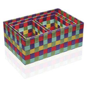 Conjunto de Caixas de Organização Empilháveis Têxtil (4 Peças) (25 x 15 x 38 cm)