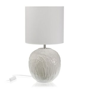 Lâmpada de Mesa Cerâmica Têxtil (25 x 51 x 25 cm) Branco