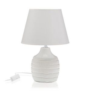 Lâmpada de Mesa Cerâmica Têxtil (22 x 34 x 22 cm) Cinzento