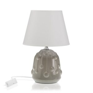 Lâmpada de Mesa Cerâmica Têxtil (18 x 28 x 18 cm) Cinzento