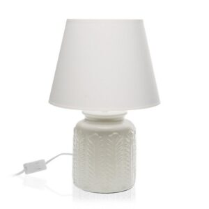 Lâmpada de Mesa Cerâmica Têxtil (25 x 36 x 25 cm) Cinzento