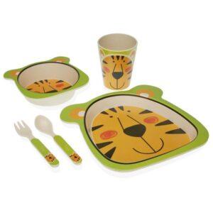 Conjunto de Louça Fibra de Bambu Infantil Tigre (5 pcs)