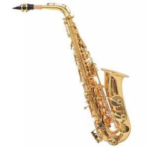 Saxofone alto bronze amarelo lacado a dourado Eb - PORTES GRÁTIS