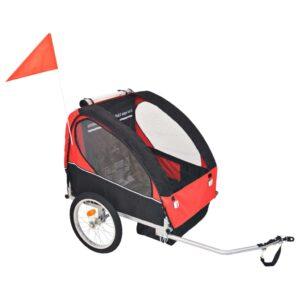 Atrelado de bicicleta para crianças vermelho e preto 30 kg - PORTES GRÁTIS