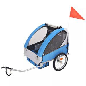 Atrelado de bicicleta para crianças cinzento e azul 30 kg - PORTES GRÁTIS