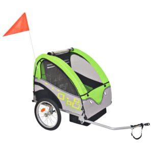Atrelado de bicicleta para crianças cinzento e verde 30 kg - PORTES GRÁTIS