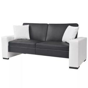 Sofá-cama com braços ajustável PVC preto - PORTES GRÁTIS