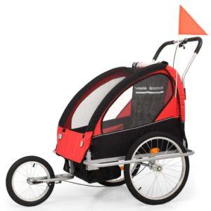 Atrelado bicicleta/carrinho infantil 2-em-1 preto e vermelho - PORTES GRÁTIS