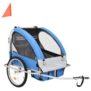 Atrelado bicicleta/carrinho infantil 2-em-1 azul e cinzento - PORTES GRÁTIS