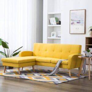 Sofá em tecido c/ forma de L 186x136x79 cm amarelo - PORTES GRÁTIS