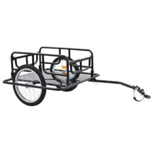 Reboque de carga para bicicleta 130x73x48,5 cm aço preto - PORTES GRÁTIS