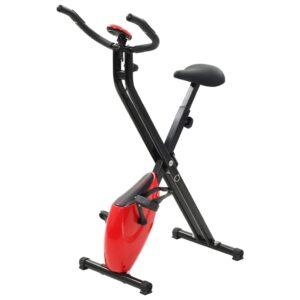 Bicicleta X estática magnética c/ medição pulso preto vermelho - PORTES GRÁTIS