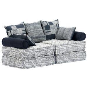 Sofá-cama modular de 2 lugares tecido cinzento - PORTES GRÁTIS