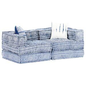 Sofá-cama modular de 2 lugares em retalhos azul índigo - PORTES GRÁTIS