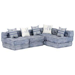 Sofá-cama modular de 4 lugares tecido azul índigo - PORTES GRÁTIS