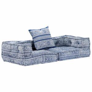 Sofá-cama modular de 2 lugares tecido azul índigo - PORTES GRÁTIS