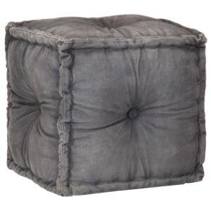 Pufe em lona de algodão 40x40x40 cm antracite - PORTES GRÁTIS