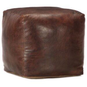 Pufe 40x40x40 cm couro de cabra genuíno castanho-escuro - PORTES GRÁTIS