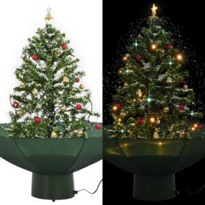 Árvore de Natal com neve base formato guarda-chuva 75 cm verde - PORTES GRÁTIS