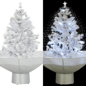 Árvore de Natal com neve base formato guarda-chuva 75 cm branco - PORTES GRÁTIS