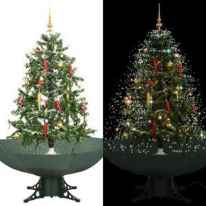 Árvore de Natal com neve base formato guarda-chuva 140 cm verde - PORTES GRÁTIS