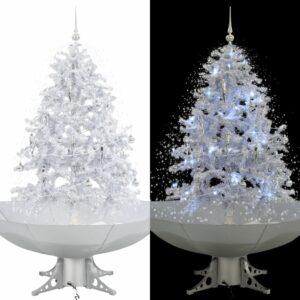 Árvore de Natal c/ neve base formato guarda-chuva 140 cm branco - PORTES GRÁTIS