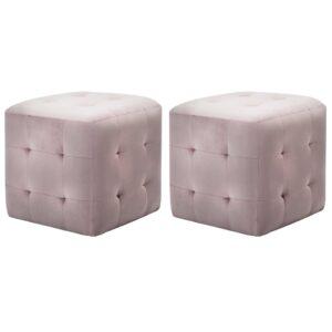 Pufe 2 pcs 30x30x30 cm veludo rosa - PORTES GRÁTIS