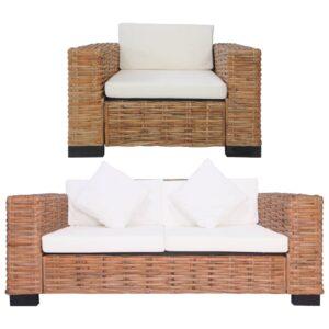 2 pcs conjunto de sofás com almofadões vime natural  - PORTES GRÁTIS