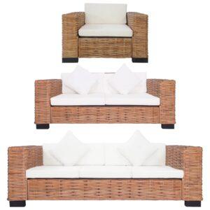 3 pcs conjunto de sofás com almofadões vime natural  - PORTES GRÁTIS