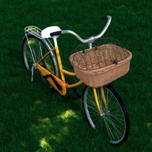 Cesto bicicleta com cobertura 50x45x35 cm salgueiro natural - PORTES GRÁTIS