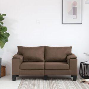 Sofá de 2 lugares em tecido castanho - PORTES GRÁTIS