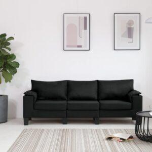 Sofá de 3 lugares em tecido preto - PORTES GRÁTIS