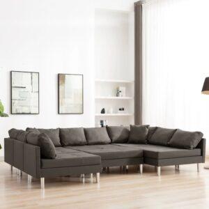 Sofá seccional tecido cinzento-acastanhado - PORTES GRÁTIS