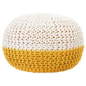 Pufe tricotado à mão 50x35 cm algodão amarelo e branco - PORTES GRÁTIS